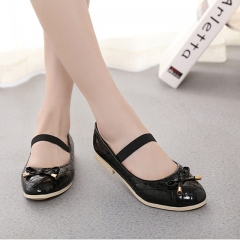 Cute Girl Children's Shoes Leather Lovely Bow Princess Shoes Low To Help Anti-skid Girl Dress Shoes black 26