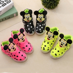 Hot Fahison Breathable LED Light Up Children Shoes Soft-soled Flat Girl Shoes Boy Anti-skid Sneakers black 21