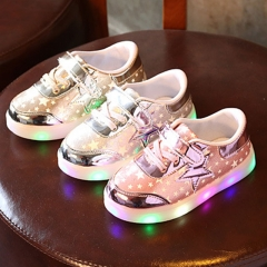 Fahison Athletic LED Light Up Children Shoes Led Colorful Flash Baby Girl Shoes Low Help Boy Sneaker pink 21
