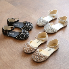 Fashion Girl Sandals Shoes Lovely Dress Princess Shoes Anti-skid PU Leather Shoes silver 27