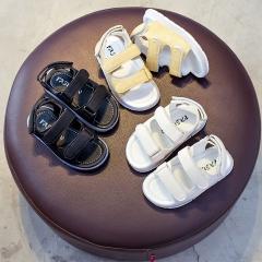 PU Leather Boy Sandals Shoes Soft Bottom Rubber Non-slip Shoes Open Toe Beach Shoes black 21
