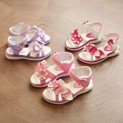 Girl Sandals Shoes Lovely Flowers Princess Shoes Anti-skid PU Leather Shoes pink 27