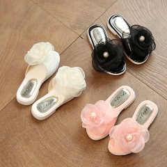 Girl Slippers Lovely Flowers Casual Sandals Shoes Anti-skid PU Leather Shoes white 27