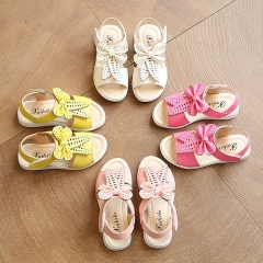 Girl Sandals Lovely Casual  Princess Shoes Anti-skid PU Leather Shoes white 27