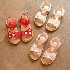 Girl Sandals Lovely Flowers Princess Shoes Anti-skid PU Leather Shoes white 27