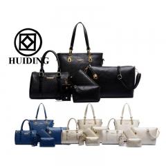 New 6 pcs in 1 Set Women Bag High Quality Shoulder Bags Designers Ladies Handbags Brand Girl Wallet black One Size