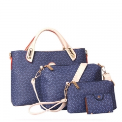 4PCS Women Bag High Quality Ladies Handbags Fashion Pattern Shoulder Bag Brand Girl Wallet blue one size