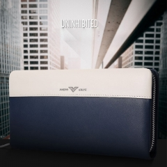 Fashion Brand Genuine Leather Men Wallet Bag Stitching Cowhide Handbag Card Pack Blue 21cm*11cm*2.5cm