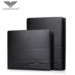 Brand Genuine Leather Men Wallet Multifunction Bag Cowhide Business Card Pack black 12cm*9.5cm*2cm