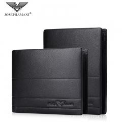 Brand Genuine Leather Men Wallet Multifunction Bag Cowhide Business Card Pack black 12cm*9.5cm*2cm