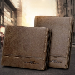 Brand Retro Genuine Leather Men Wallet Multifunction Bag Cowhide Business Card Pack Khaki 12cm*9.5cm*2cm