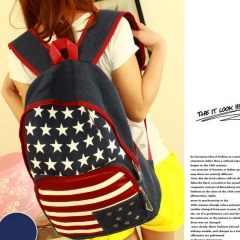 American Flag Printed Canvas Backpack School Student Backpack women Bag blue 31cm*13cm*40cm