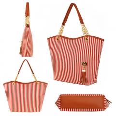 Fashion Striped Canvas Women Handbags Casual Shoulder Bag red 31cm * 10cm * 32cm