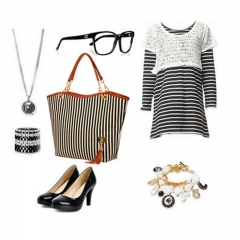 Fashion Striped Canvas Women Handbags Casual Shoulder Bag black 31cm * 10cm * 32cm