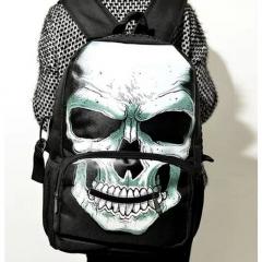 Nylon Skeleton Canvas Backpack Unisex School Student Bag Casual Women Bag black 31cm * 19cm * 44cm