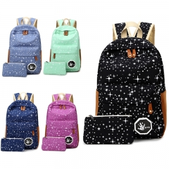 2PCS Fashion Printed Star Pattern Canvas School Student Backpack Portable Handbag blue 28cm * 13cm * 42cm