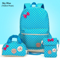 3PCS Point Printing Canvas School Backpack Cute Student Bag For Girl +Girl Wallet blue one size