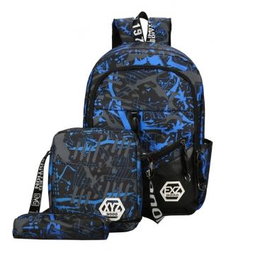 Casual 3PCS Canvas School Backpack Student Bag For Girl Outdoor Camouflage Backpack blue one size