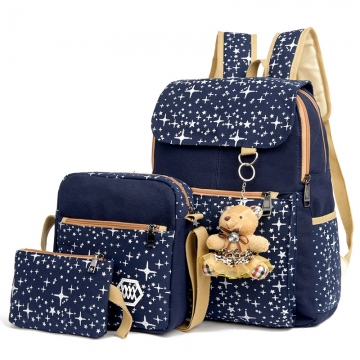 Outdoor Casual 3PCS Canvas Backpack For Women Cute School Backpack Student Bag blue one size
