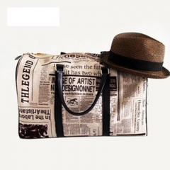 Retro Style Leather Women Handbag Newspaper Printing Shoulder Bag black 45cm * 20cm * 33cm