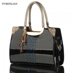 Fashion Leather Women Handbag Hollow Lady Shoulder Bags Casual Messenger Bag black 29cm*9cm*20cm