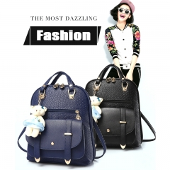 Fashion Genuine Leather Women Backpack Casual School Bag For Girl Student Backpack blue one size
