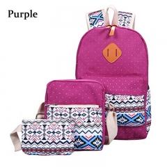 3pcs Ethnic Style Girl Geometric Dot Print Portable Handbag Tote School Backpack purple one size