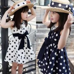 Fashion Beautiful Chiffon Princess Dress Cute Sleeveless Bow Girl Dress Dot Printing A Word Skirt blue 100cm