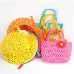 Hot 2PCS Summer Hat Girls Kids Beach Hats Bags Flower Straw Hat Cap Tote Handbag Bag Suit rose red
