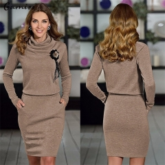 Fashion Sexy Summer Short Sleeved Loose Women Dress High Collar Pack Hip Party Dress coffee S