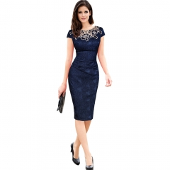 Elegant Vintage Embroidery Delicate Fabric Office Lady Party Dress blue m