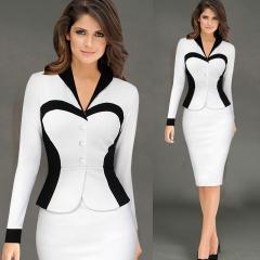 Women Longsleeve Turn Down Collar Elegant Lapel Patchwork OL Dress white xl