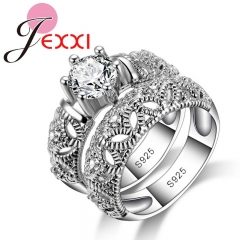 Fashion 925 Sterling Silver Rings for Women Love Ring White Gold Hollow Female Ring Sets Jewelry Silver 6