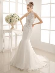 2017 Spring New Vintage Illusion Sleeve Mermaid Court Train Wedding Dress Ivory US Size 2