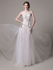 2017 Spring New Fairy Illusion Lace and Tulle Floral Applique Wedding Dress Ivory US Size 2
