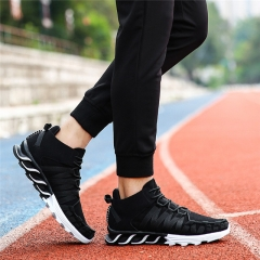 Fashion Plus size Men Casual Shoes 2017 spring New Design lightweight Breathable Mesh trainers shoes black us5(24.5cm)