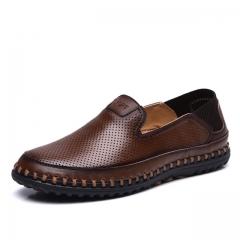 Shoes men Fashion style men casual shoes plus size genuine leather men flat shoes Best quality dark brown us7.5(27.0cm)