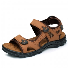 New Fashion Summer Leisure Beach Men Shoes High Quality Leather Sandals The Big Yards brown us5(24.5cm)