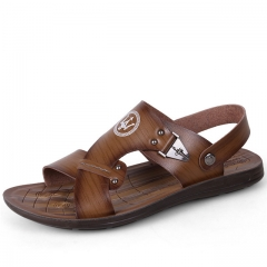 New Fashion Summer Leisure Beach Men Shoes High Quality Leather Sandals The Big Yards dark brown us5(24.5cm)