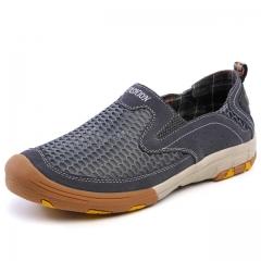 Shoes men Fashion style men casual shoes plus size genuine leather men flat shoes Best quality gray us7.5(27.0cm)