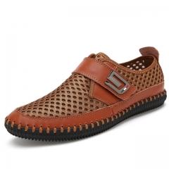 Shoes men Fashion style men casual shoes plus size genuine leather men flat shoes Best quality brown us5(24.5cm)