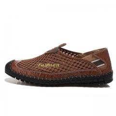 Shoes men Fashion style men casual shoes plus size genuine leather men flat shoes Best quality brown us7.5(27.0cm)