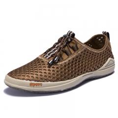 Shoes men Fashion style men casual shoes plus size genuine leather men flat shoes Best quality kaki us7.5(27.0cm)