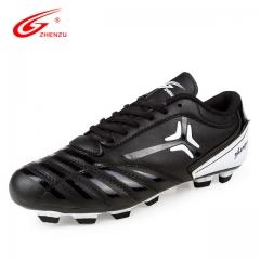 Men Women Football Soccer Boots Leather High Top Soccer Training Football Sneaker black us3(22.1cm)