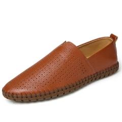 ventilate hole for burnished leather  Men Shoes Soft Moccasins Loafers Men Flats Comfy Driving Shoes brown us7.5(27.0cm)