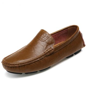 Big Size 38~48 burnished leather Men Shoes Soft Moccasins  Fashion Brand Men  Comfy Driving Shoes khaki us8(25.0cm)