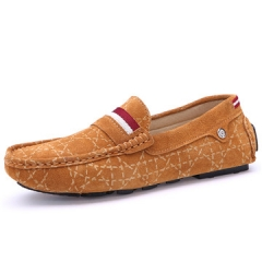 Suede leather Men Shoes Soft Moccasins Loafers Fashion Brand Men Flats Comfy Driving Shoes brown us7.5(24.5cm)
