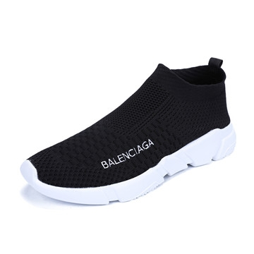 lovers 2017 Fashion Casual Flying shoes Breathable and Hard-Wearing  Wear Shoes Male Outdoor Walkin black us7.5(24.5cm)
