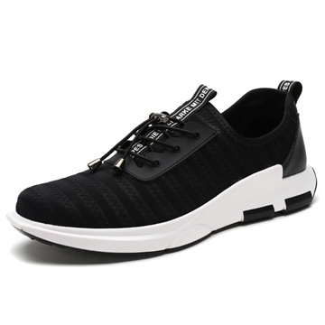 Four seasons of new men's flying webbed cloth breathable wear trainers fashion outdoor shoes black us8(25.0cm)