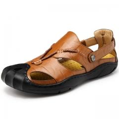New Fashion Summer Beach Breathable Men Sandals Genuine Leather Men's Sandal Man Causal Shoes L.brown us7.5(24.5cm)